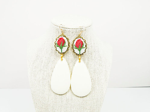 Rose Statement Wedding Earrings
