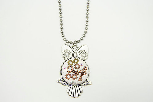 Steampunk Owl Long Necklace