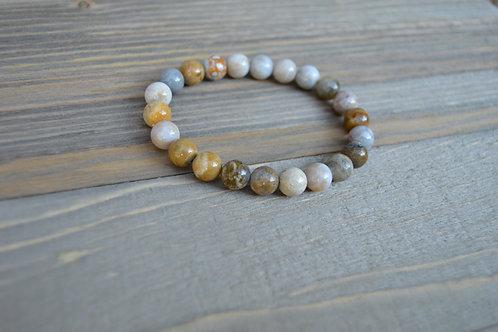 Gray & Brown Jasper Beaded Bracelet