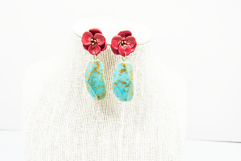 Red Flower Stone Earrings