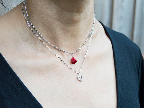 Double Layer Heart & Rose Necklace