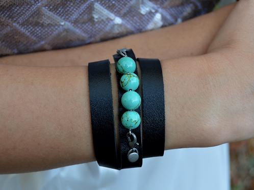 Turquoise Stone Leather Bracelet