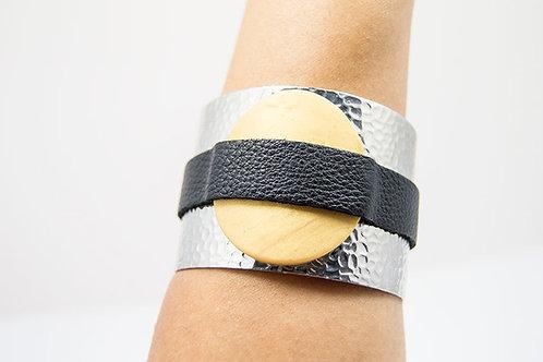 Adjustable Silver Leather Bracelet