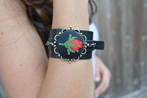 Rose Leather Wrap Bracelet