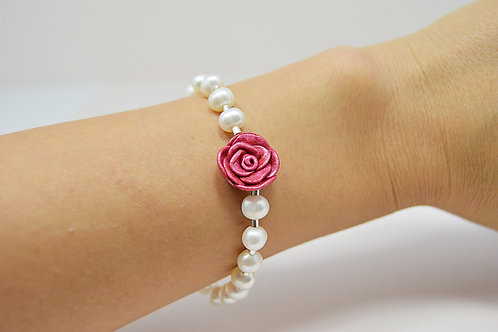 Rose Pearl Silver Bracelet