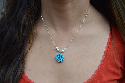 Blue Rose Pearl Necklace