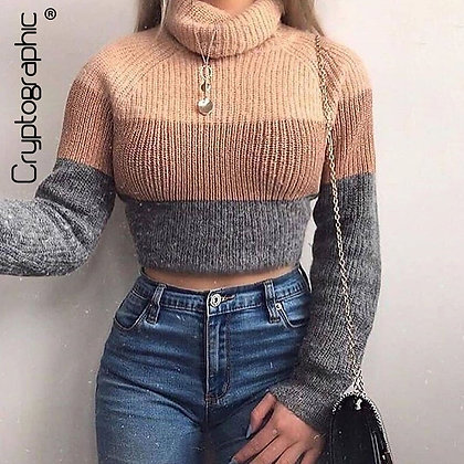 Cryptographic Fashion Women's  Turtlenecks Sweaters Striped