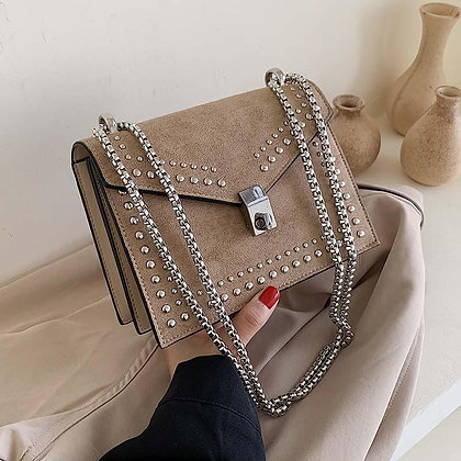 Scrub Leather Chain Rivet Lock Shoulder Bag