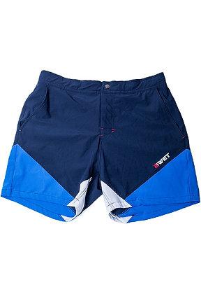 """Men's Beach Shorts """"Butterfly"""" by Bwet Swimwear - Navy, Blue"""