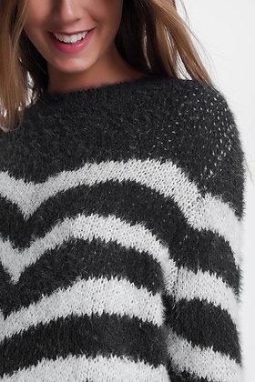 Fluffy Stripe Sweater in Grey