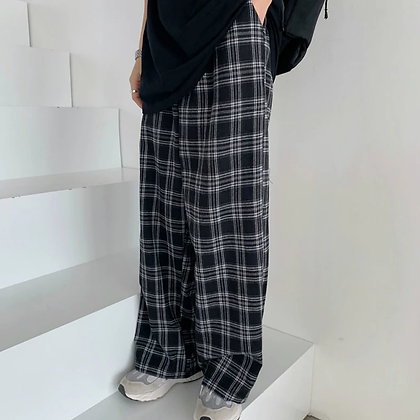 Plaid Pants Casual Oversize Loose Trousers | Retro Teens