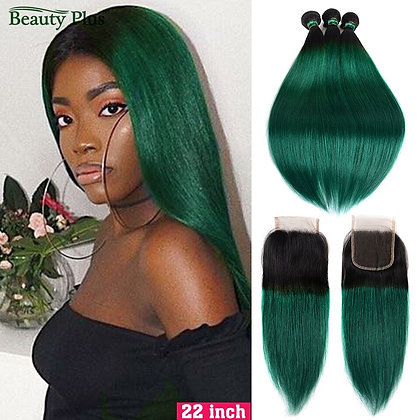 Brazilian Ombre Green Straight Hair With Closure