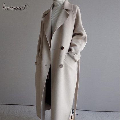 Winter Beige Elegant Blend Overcoat