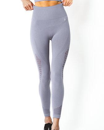 Mesh Seamless Legging With Ribbing Detail - Grey Purple