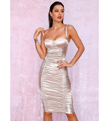 Kiara Pleated Nude Dress