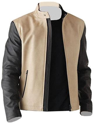 Men Cream Fashion Leather Jacket