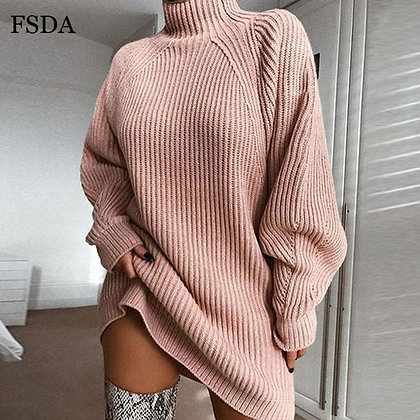 Knitted Sweater Dress Turtleneck Casual Dress