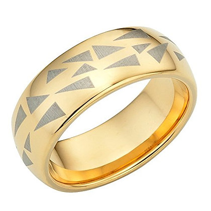 Men's Ring, Tungsten Men's Ring With Etched Triangles, Holiday Gift for Men
