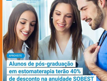 Alunos de Pós Graduação em Estomaterapia terão 40% de desconto na anuidade SOBEST