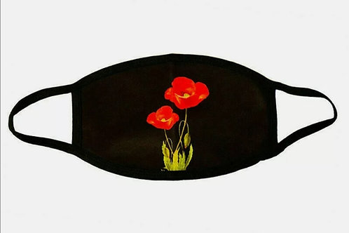Poppy face mask with 2 Poppies