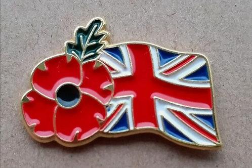 Union flag poppy pin