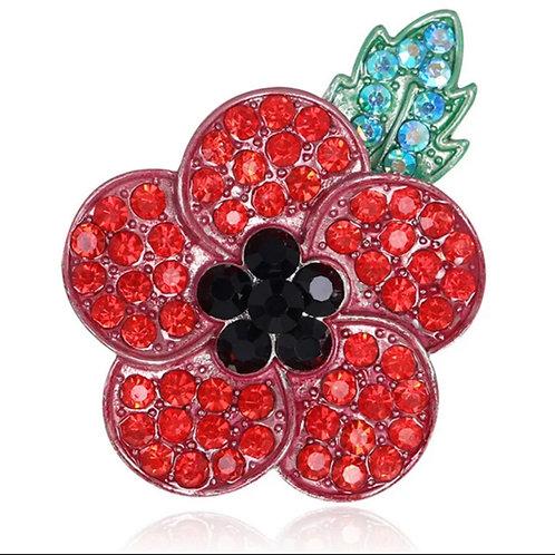 Crystal remembrance poppy brooch