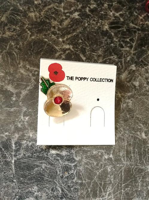 Gold poppy pin
