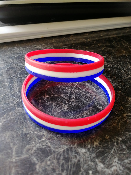 Red, white and blue wristbands
