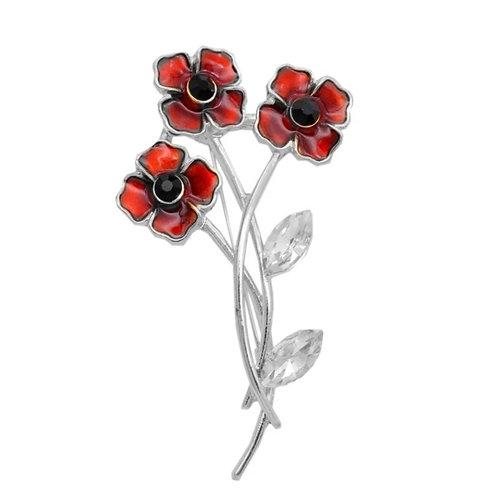 Triple red remembrance poppy pin