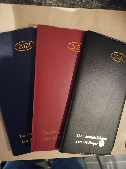 Three Scottish Soldiers 2021 Diary + Pen.