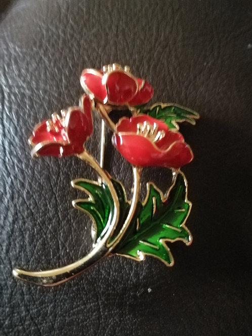 Three poppy brooch