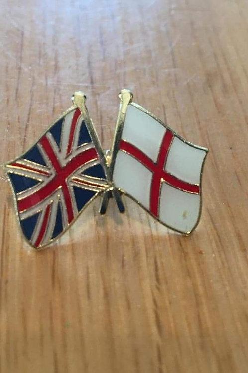 Two flag pin badge (England + Union Flag).