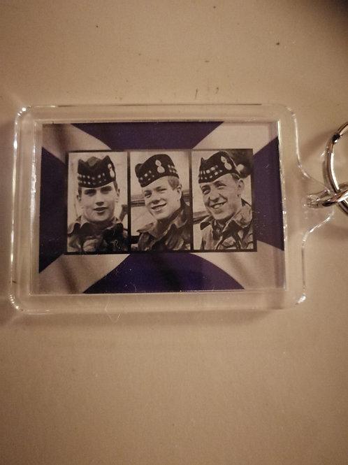 Three scottish soldiers keyrings