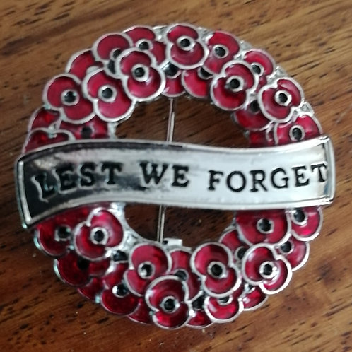 LEST WE FORGET, POPPY WREATH PIN