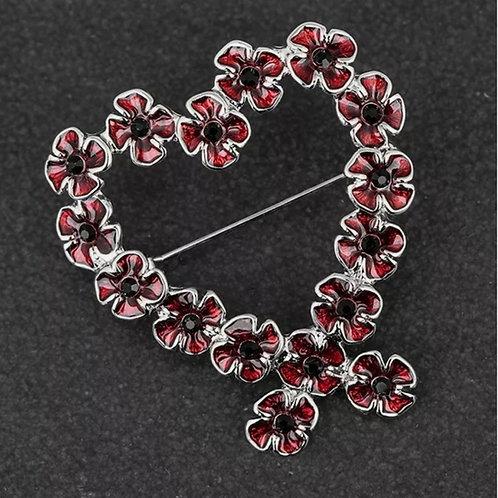 Heart poppy wreath brooches