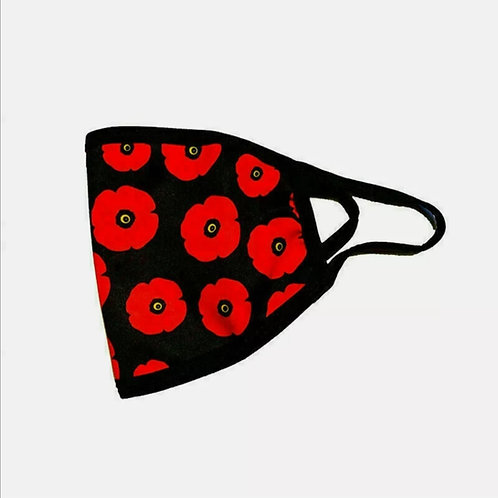 Printed scattered poppy face mask