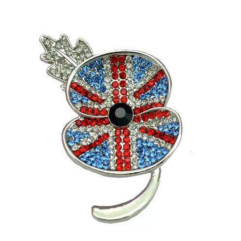 Union flag remembrance poppy brooch