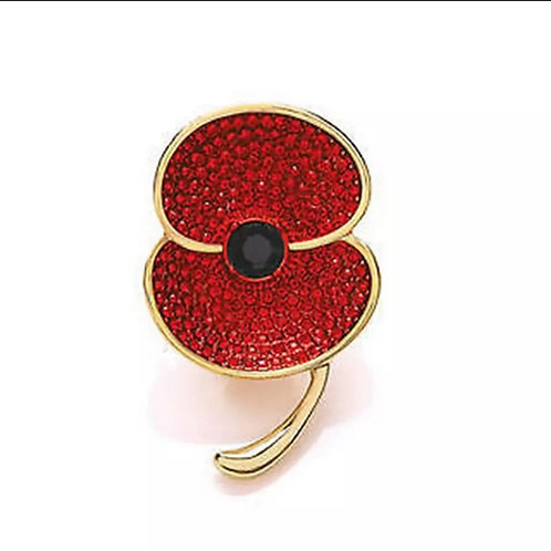 Red  crystal poppy brooch