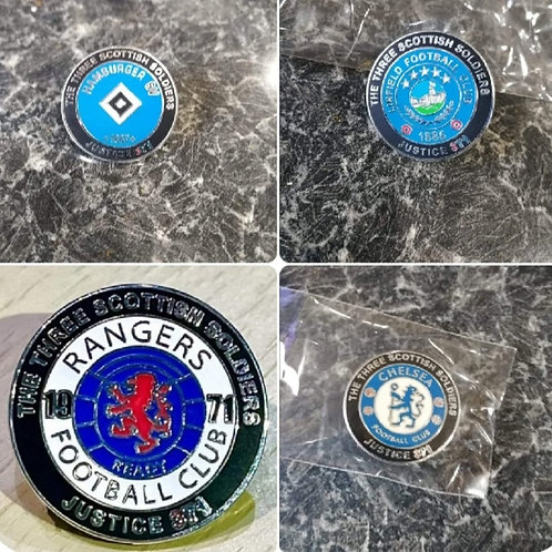 JUSTICE371 CAMPAIGN FOOTBALL BADGES. (ONE OF EACH)
