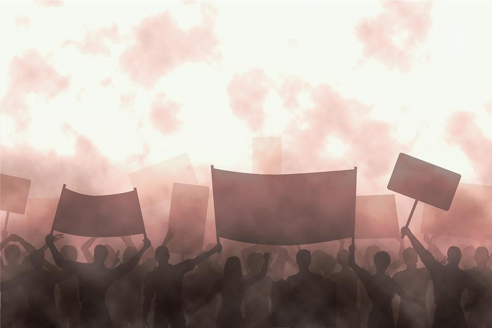 greyscale photo of protestors