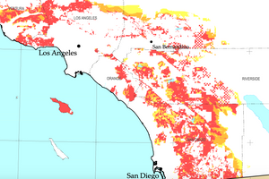 fire risk map Orange County, Los Angeles, San Diego Cal FIre