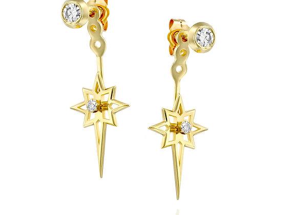 Ear Jackets 14k Gold and Diamonds Starburst