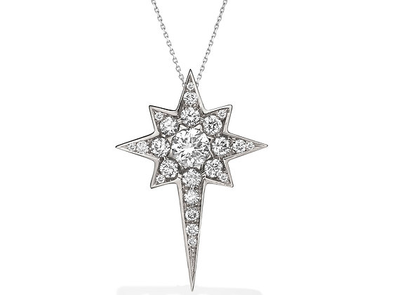 Large Star Pavé Diamond 18k Gold Necklace