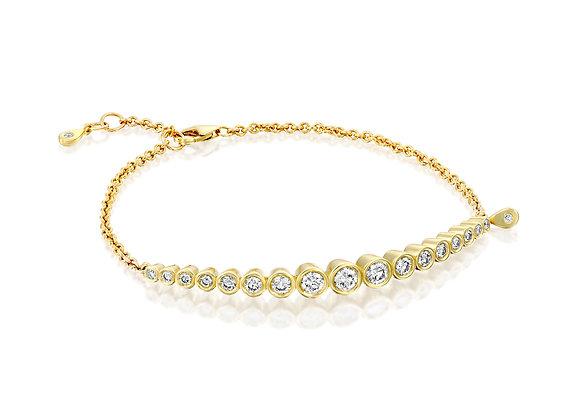 Dainty 14k Yellow Gold Diamond Bazel Setting Bracelet