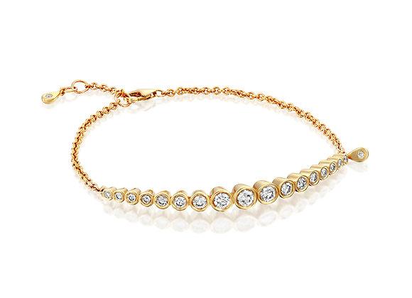 Dainty 14k Rose Gold Diamond Bazel Setting Bracelet