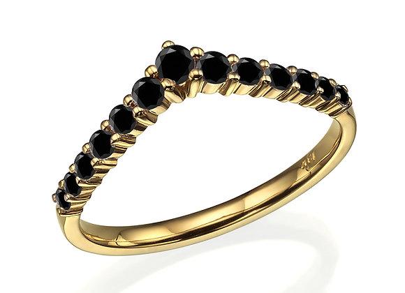 Chevron Wedding Band 18k Gold and Black Diamonds