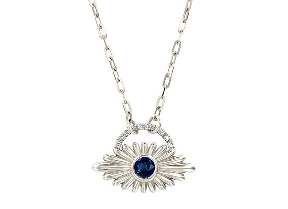 of Art Deco Inspired Evil Eye Blue Sapphire Necklace