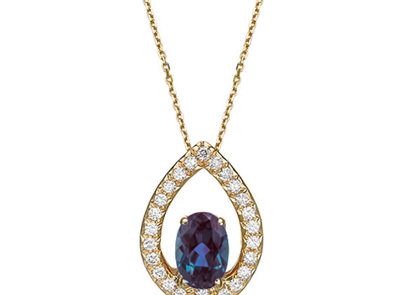 18k Gold Diamond and Alexandrite Necklace