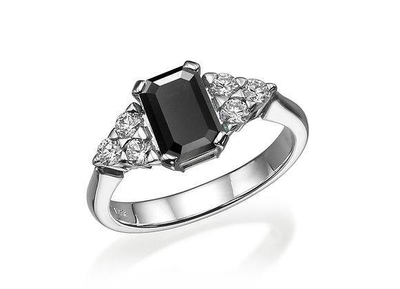 Black Diamond Ring Art Deco Inspired