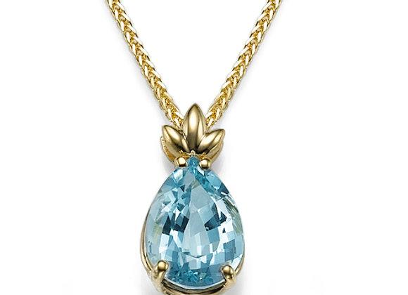 Aquamarine Pendant with leaf ornament